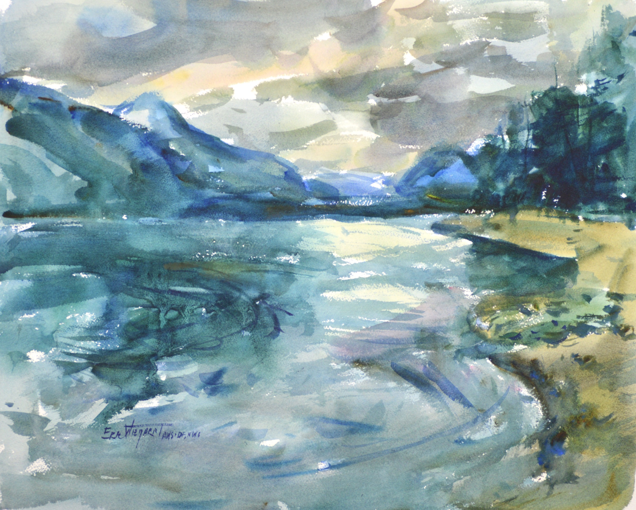 4234 Glacier Park, original watercolor painting by Eric Wiegardt AWS-DF, NWS